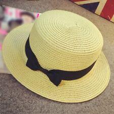 Fashion Womens Mens Brown Trilby Gangster Cap Summer Beach Sun Straw Panama Hat