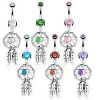 Dream Catcher Woven Star Bead Feathers Gem Belly Button Ring Navel Naval