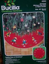 "Bucilla 12 DAYS OF CHRISTMAS Vintage Felt Tree Skirt Kit~RARE 45"" 1st Edition"
