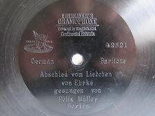 "78rpm E. BERLINER GRAMOPHONE 7"" - FELIX MÜLLER sings ABSCHIED VOM LIEBCHEN"