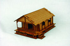 Far East or jungle palm Style Low Village House 28 mm Laser Cut MDF Building k004