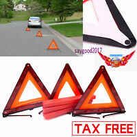 3PCS Early Warning Road Safety Triangle warning sign Kit Reflective Emergency