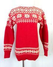 vtg 70s 80s women's Pure New Wool Red Cream Geometric Ski Sweater Snowflake 36