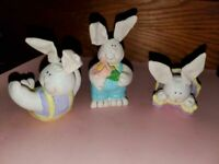 PERFECT FOR EASTER!  adorable ceramic bunny figurines with bendable cloth ears