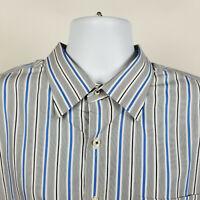 Peter Millar Gray Blue White Black Striped Mens Dress Button Shirt Size XXL 2XL