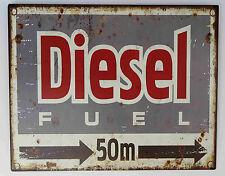 Blechschild DIESEL FUEL 50 Meter rechts Nostalgie RETRO Deko Garage Biker