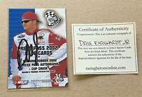 NM Hand Signed Dale Earnhardt Jr Press Pass 2002 Card #100 W/ COA