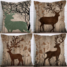 "18"" Cartoon Deer Cotton Linen Cushion Cover Pillow case Home Decor"