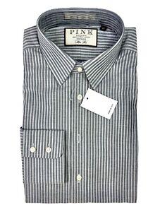 THOMAS PINK Striped Slim Fit 100's Cotton Shirt UK 15 EURO 38 Brand New