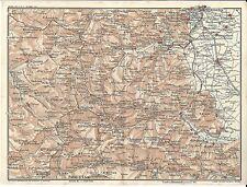 Carta geografica antica VALLI PELLICE PO VARAITA TORINO CUNEO 1914 Antique map