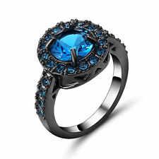 Noble Jewelry Blue Aquamarine 18K Black Gold Filled Women's Wedding Ring Size 8