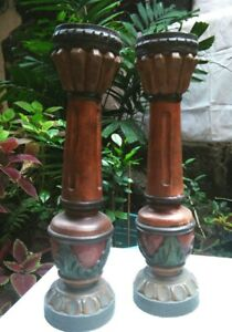 Pair Of Antique Wood Candlestick Holder