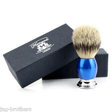 Men's 100% SILVER TIP Badger Hair Shaving Brush in BLUE&CHROME Handle Made in UK