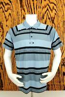 Oakley Men's Golf Polo Shirt Size Large Blue Black Striped Short Sleeve