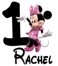 "Minnie Mouse Personalized Iron On Transfer, 5x6.5""  for LIGHT Colored Fabric"