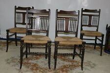 Set of 4 Antique Oak Edwardian Reed Seated Dining Chairs
