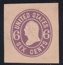 US STAMP BOB AIR #U65 6C 1864-65 PURPLE Cut SQ STAMP UNUSED