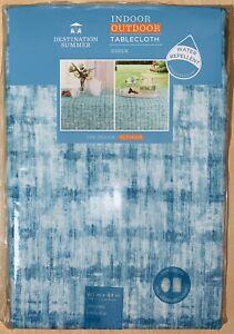 DESTINATION SUMMER Essen OBLONG Indoor/Outdoor Tablecloth in Aqua(60 in x 84 in)