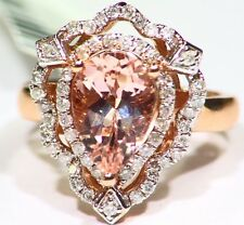 3.20CT 14K Rose Gold Natural Morganite White Diamond Vintage Engagement Ring