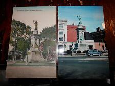 WATERBURY CT - CIVIL WAR - SOLDIERS MONUMENT - OLD Postcard plus MODERN PHOTO