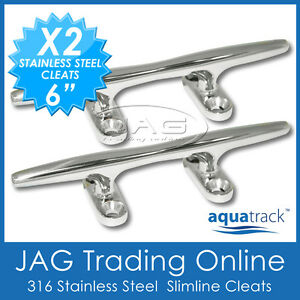 "2x 6"" 155mm 316 STAINLESS STEEL MARINE GRADE SLIMLINE CLEAT BAR -Rope/Boat/Yacht"