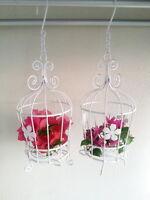 2 x Small Vintage White Metal Bird Cage Candle Holder Lantern Wedding Home Decor