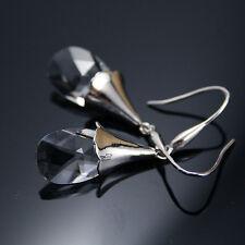 Claro con elemento de cristal de Swarovski lágrima lágrima pendientes de plata esterlina 925