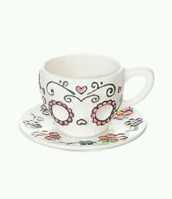 One Hundred and 80 Degrees Sugar Skull Tea Cup and Saucer Flowers Scrollwork