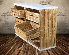 Regal geflammten Kisten hoch mit 2 Schubladen und Bohlenbrett in Weiß auf Rollen