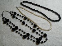 VINTAGE TO NOW ASSORTED BLACK & WHITE LUCITE & GLASS BEADED NECKLACE LOT