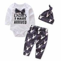 3PCS Newborn Baby Boys Girls Outfits Clothes Romper Tops +Leggings Pants Hat Set