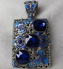Joyería De China Plata Azul Cloisonne Cloisonne Colgante Vintage Tíbet oriental