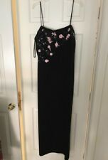 Betsy & Adam 20W Black Evening Dress W floral embellishments new w tags