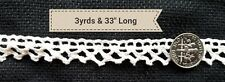 A20 Vintage Lace Trim 3 Yards White Hue Dainty Prim Sewing Art Doll Blythe