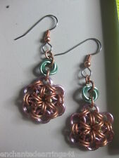Chain Maille Japanese 12 in 2 Flower Earrings Copper-Aluminum Pink-Yellow-Green