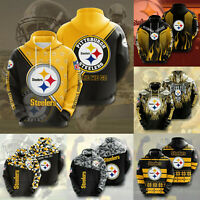 Pittsburgh Steelers Hoodies Mens Casual Sweatshirt Fans Football Pullover Jacket