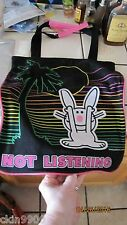 "HAPPY BUNNY TOTEBAG BUNNY ""NOT LISTING"" Large Tote Bag CUTE NEW W/TAGS"