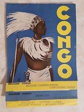 1939 Belgian Congo Travel Brochure Warrior Cover Art Map New York World's Fair