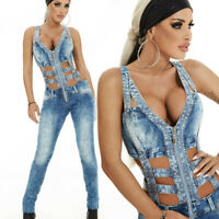 BY Alina Damen Overall Einteiler Catsuit Sexy Jumpsuit Jeansoverall 34-38 #C443