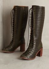 Anthropologie Jeffrey Campbell Rilla Perforated Boots by  Moss Green Leather 9