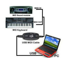 More details for usb in-out midi interface cable converter pc to music keyboard adapter cord