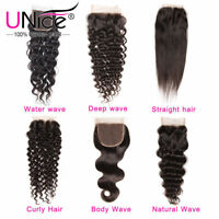 UNice Brazilian Hair Body Wave Straight Deep Curly Natural Wavy 4x4 Lace Closure