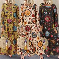 ZANZEA Women Autumn Winter Long Sleeve Maxi Dress Crew Neck Stylish Floral Dress