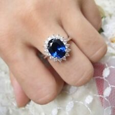 Oval Cut Blue Sapphire White 2.53 CT Gold Over Diana Princess Engagement Ring