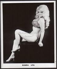 Ronda Lita BURLESQUE STRIPPER busty leggy high heels VINTAGE PHOTO 8x10
