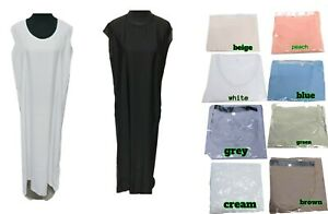 white sleeveless abaya  inner slip dress  Kaftan  Maxi jilbab