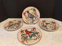 "Holiday Salad Plates Block Basics 'Festive Ribbon' 8"" Four Different Birds"