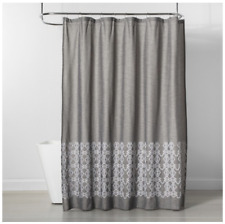 Threshold Embroidered Bathroom Shower Curtain 72 x 72 100% Cotton Gray