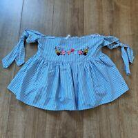 Zara Trafaluc blue white stripe off shoulder embroidered crop bardot top size L