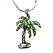 "Beautiful Palm Tree Pendant Necklace 18"" Chain Green Rhinestone Crystals"